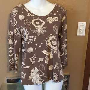 Fresh Produce brown shirt with cream flowers, M